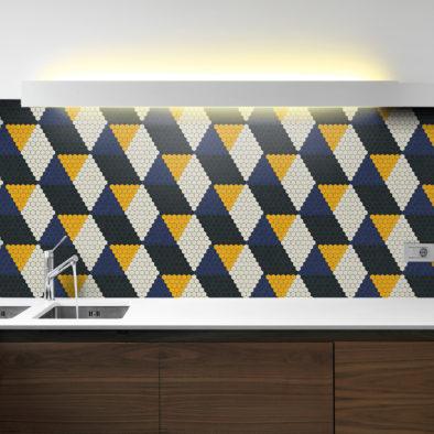 Trufle Mozaiki - kuchnia z kolorowym geometrycznym wzorem z heksagonalnej mozaiki